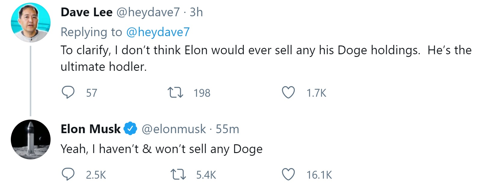Elon Musk Says He Won't Sell Any Dogecoin, Admits He's the 'Ultimate Hodler'