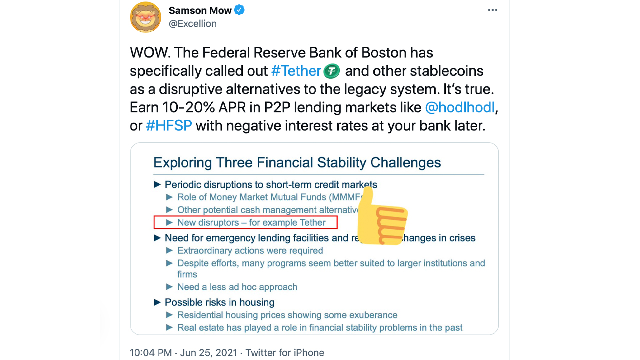 Boston Fed President Says Tether and Stablecoins Could Disrupt Money Markets