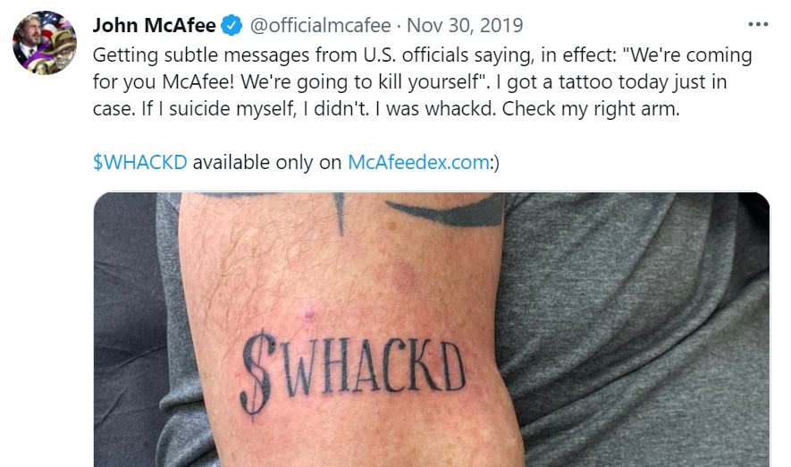 Mysterious John McAfee Website Appears for Two Days — Whackd Token Climbs Over 700%