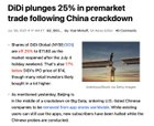 """China banned Didi (Chinese Uber) just 2 days after USA IPO. Americans invested in this are losing big time. Where is the """"investor protection""""? US regulators dont care. Investor protection comes in only when its crypto – an asset class up a huge %."""