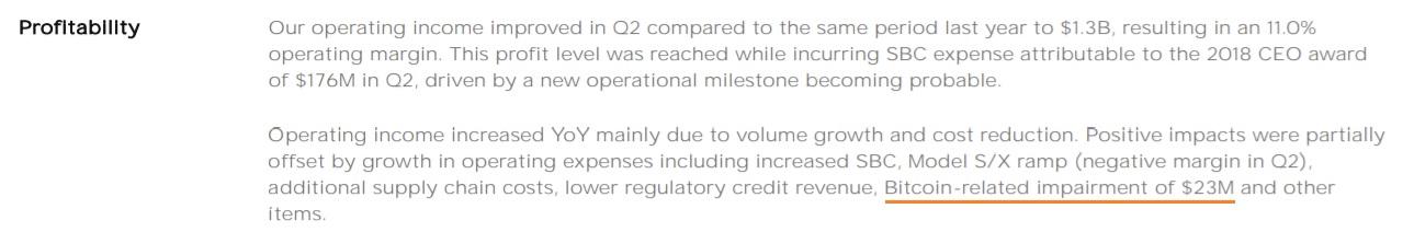 Tesla Reveals Bitcoin Holdings Worth $1.3 Billion in Q2, $23 Million BTC Impairment