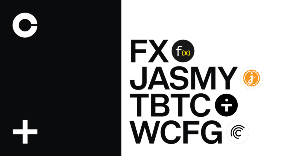 Function X (FX), Jasmy (JASMY), tBTC (TBTC) and Wrapped Centrifuge (WCFG) are launching on Coinbase…